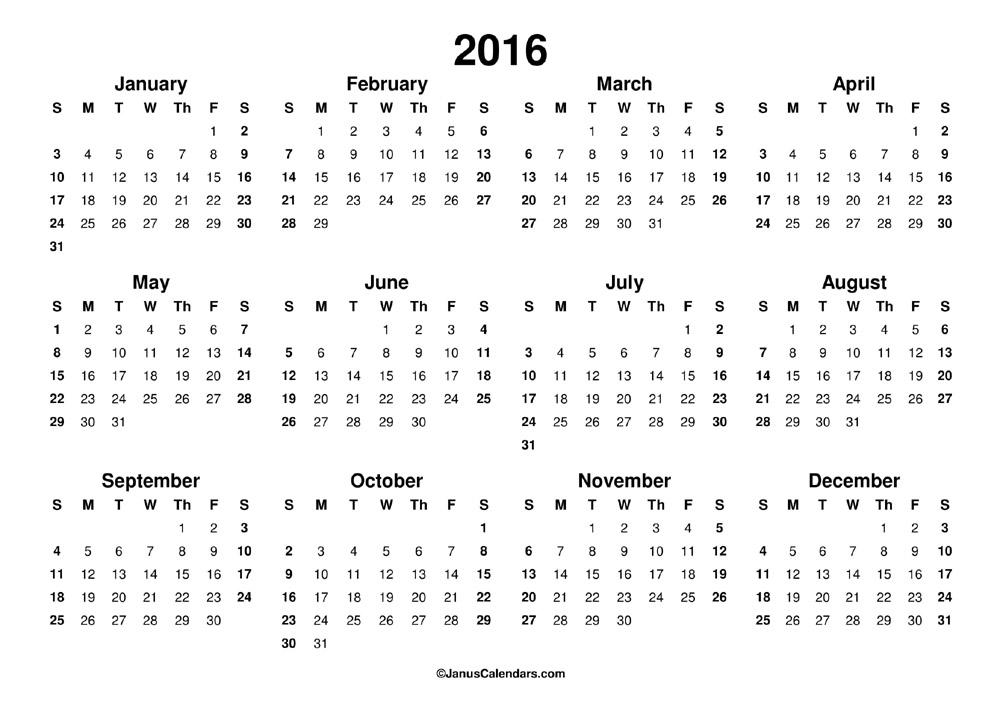 printable 2016 calendar januscalendars com
