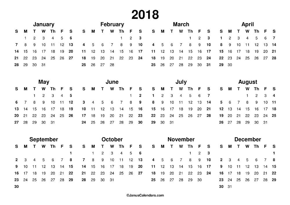 Printable 2018 Calendar   JanusCalendars.com
